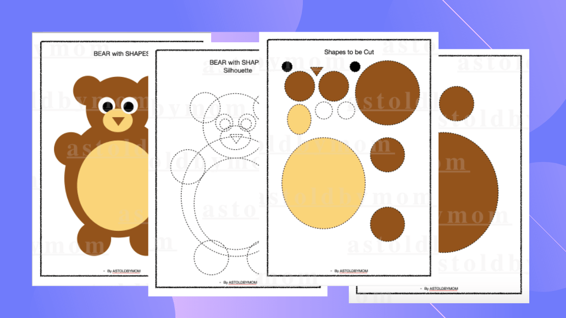 Cut and Paste Shapes Craft – Bear Puzzle