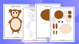 Cut and Paste Shape Craft - Monkey Puzzle