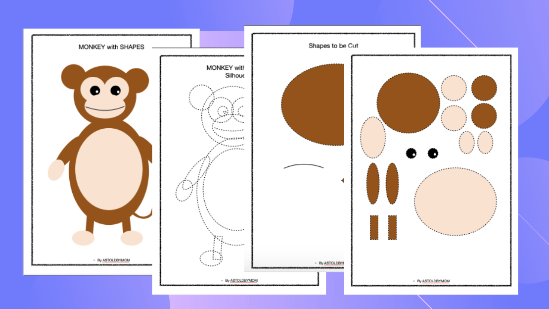 Cut and Paste Shape Craft – Monkey Puzzle