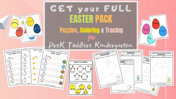 Easter Pre-Writing Tracing & Counting Pack for Toddlers & Preschoolers