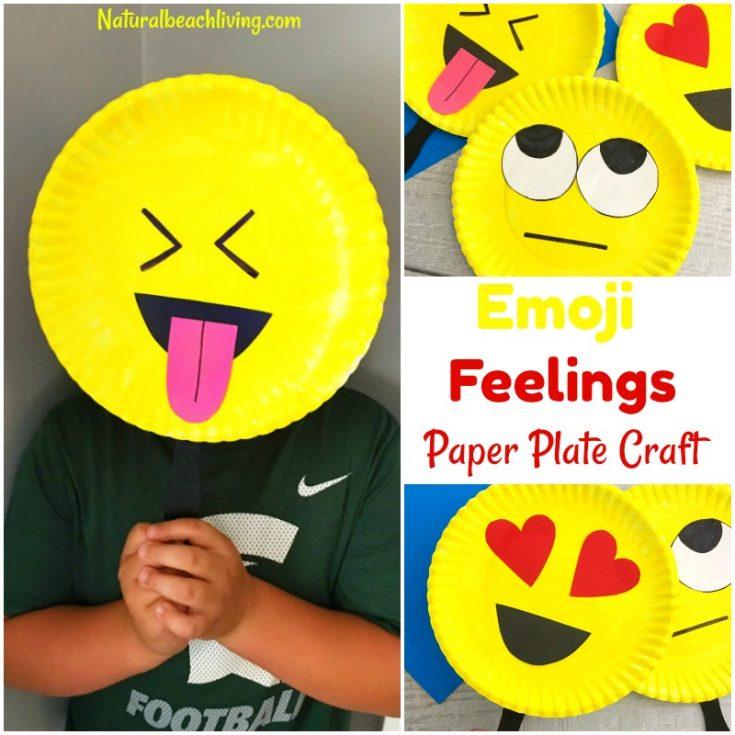 Super Cute Emoji Paper Plate Craft - Emotions Theme Party Prop