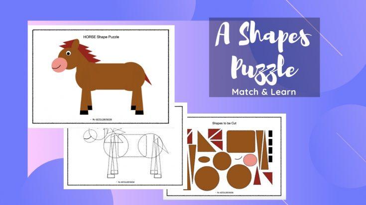 Cut and Paste Horse Shape Puzzle
