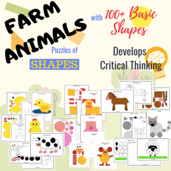 Farm Animals Shape Craft - Shape Puzzles