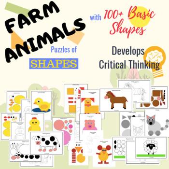 Farm Animals Shape Craft - Shape Puzzles