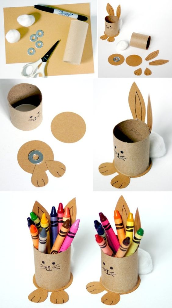 Easter Toilet Roll Bunny Stands