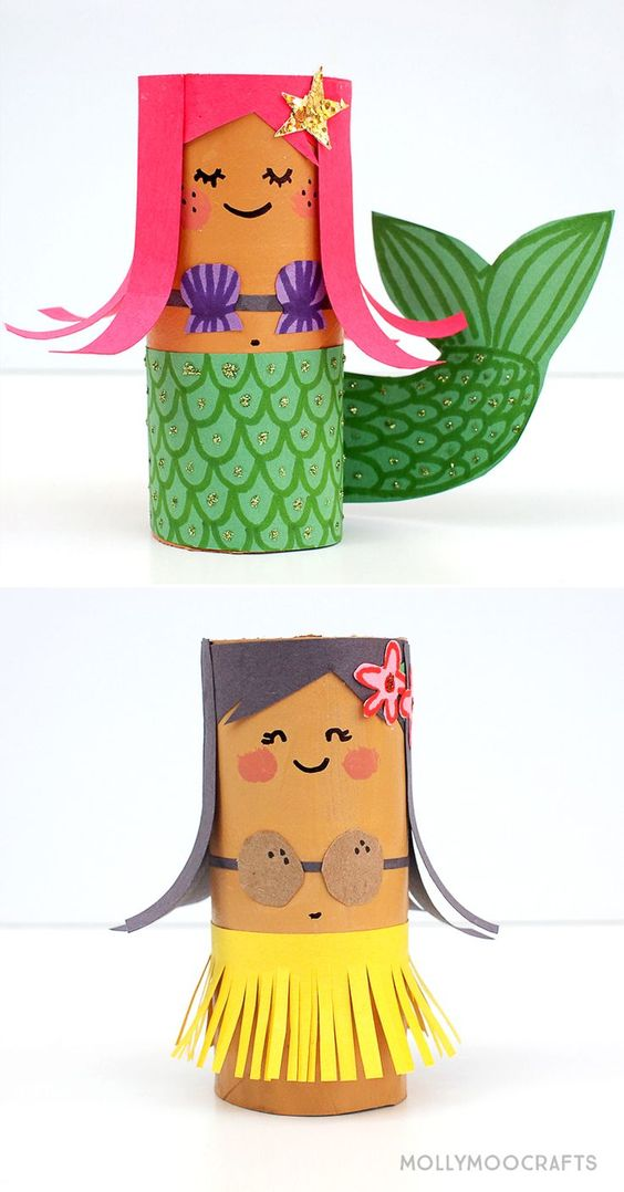 Toilet Roll Crafts: Hula Girl and Mermaid