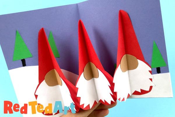Pop Up Gnome Card DIY for 3d Christmas Fun