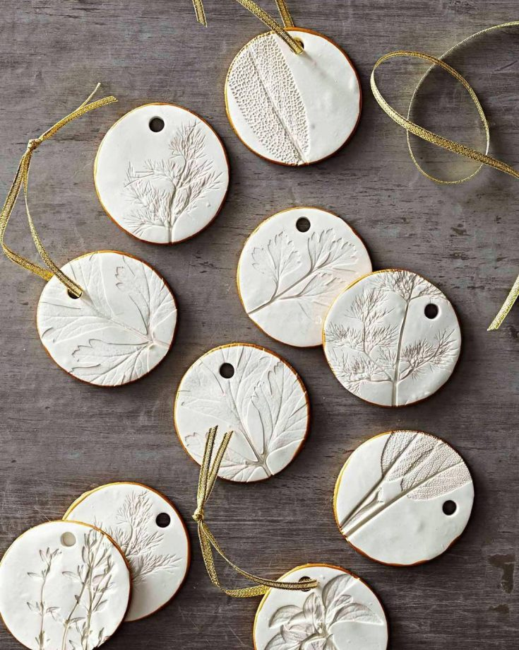 """Country Gardens Magazine on Instagram: """"Gorgeous pressed herb polymer clay ornaments or gift tags! Working atop parchment paper, roll out polymer clay until it's about 1/4-inch…"""""""