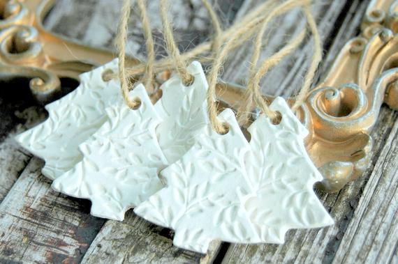 Christmas Tree Ornaments . Set of 5 . Handmade Clay Ornaments . Gift for CoWorker . Christmas Ornaments Set . CoWorker Gift Christmas Gifts