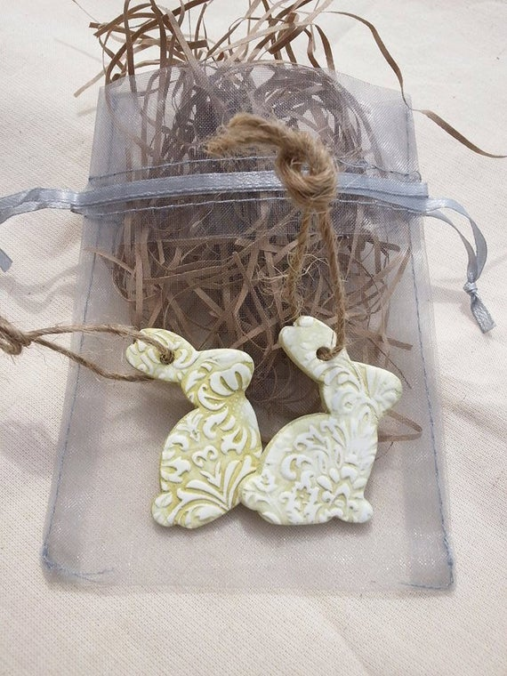 Items similar to Spring Bunnies, Clay Bunny, Set of 2 Easter ombré bunnies, Hanging Spring ornaments on Etsy