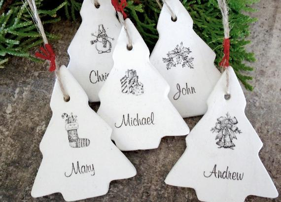 Personalized Christmas ornaments Christmas tree gift tag air dry clay Christmas home decor name white red