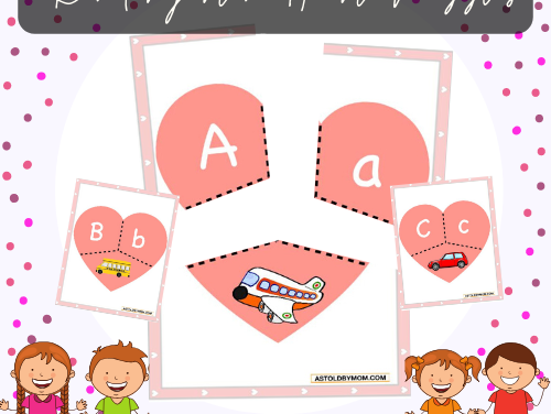Heart Puzzles – Alphabets & Numbers