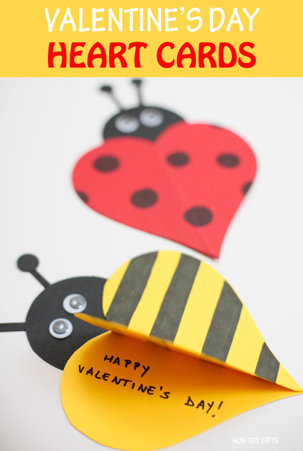 Valentine heart cards: ladybug and bee