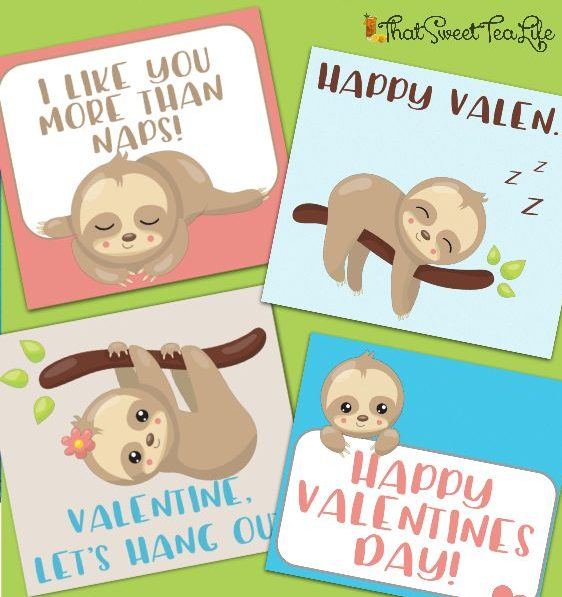 Print your very own ADORABLE Sloth Valentines!