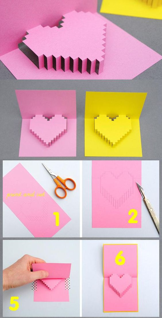 Valentine's Day Pixelated Pop Up Heart Card