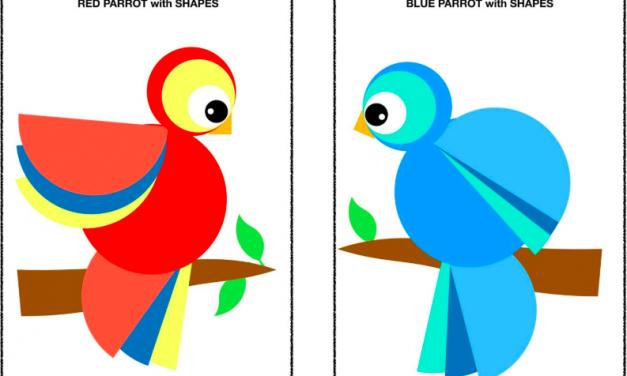 Parrots Craft –  NO PREPARATION CUT AND PASTE SHAPE PUZZLE