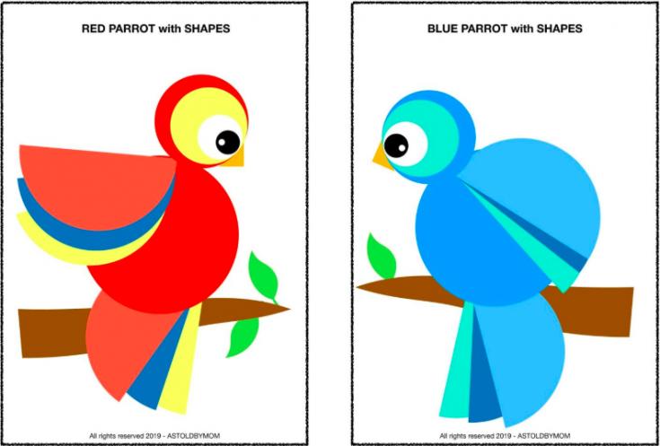 Parrots Craft -  NO PREPARATION CUT AND PASTE SHAPE PUZZLE
